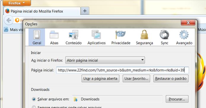 22Find se infiltra no navegador e se torna a página inicial ao se abrir o Firefox (Foto: Reprodução/Henrique Duarte)