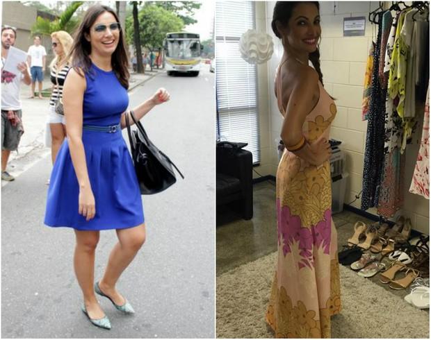 Patrícia Poeta antes e depois de perder dez quilos (Foto: Photo Rio News/Instagram)
