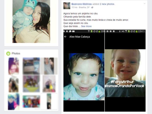 Em rede social, amigos da família de Arthur Xavier prestam solidariedade após morte do menino (Foto: Reprodução)