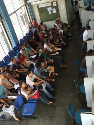 Posto sede do Sistema Nacional de Emprego (sine), no Centro do Rio de Janeiro, na manhã de sexta-feira (21) (Foto: Cristiane Caoli / G1)