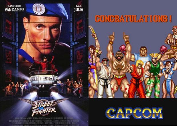 Filme de Street Fighter (à esq.) com o game clássico (Foto: Divulgação/Capcom/Universal Pictures)