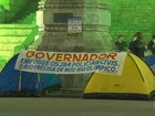 Policiais civis acampam no Centro do Rio para protestar contra governo