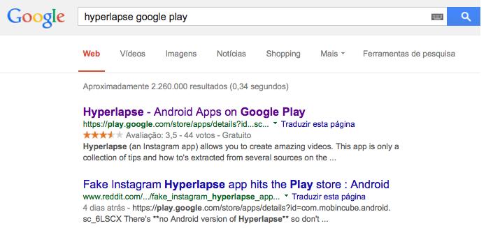 App falso aparecia no Google (Foto: Reprodução/Melissa Cossetti)