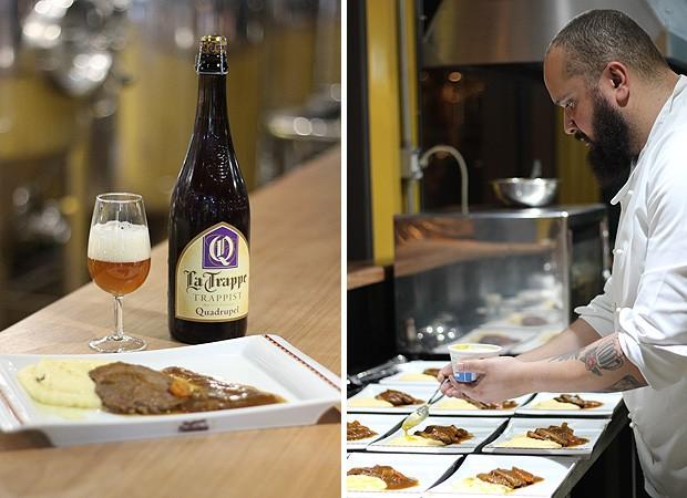 A cerveja La Trappe Quadruppel foi usada na receita de brasato (Foto: Cristiane Senna/Editora Globo)