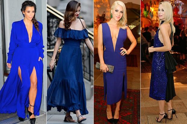 MODA - Tendência azul royal - Kim Kardashian, Miranda Kerr, Giovanna Ewbank e Mariana Ximenes (Foto: Getty Images | AgNews)