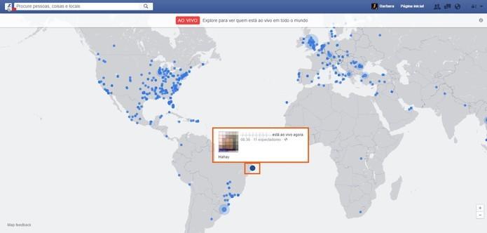 Mapa mostra as transmissões de vídeos ao vivo no Facebook (Foto: Reprodução/Barbara Mannara)