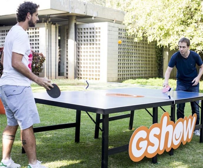 Felipe Andreoli e Tiago Leifert: entrosamento  (Foto: Ellen Soares/Gshow)