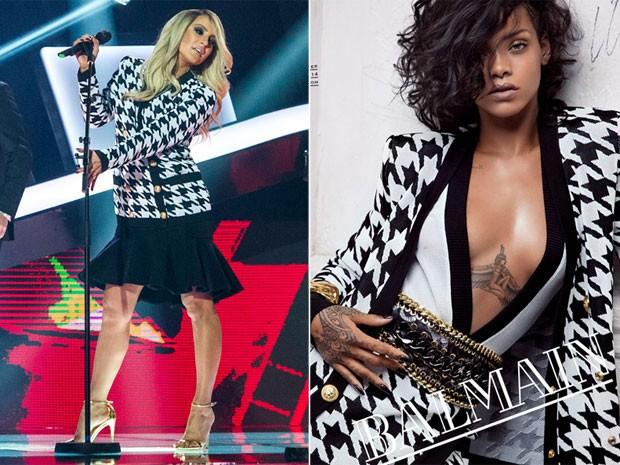 Claudia Leitte no 'The Voice Brasil' e Rihanna na campanha da Balmain (Foto: Renato Rocha Miranda/ Rede Globo e Reprodução)
