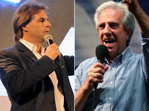 Luiz Lacalle e Pou (esquerda) e Tabaré Vázquez. (Foto: Miguel Rojo e Pablo Bielli / AFP Photo)
