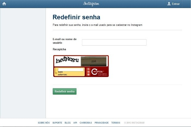 Redefinindo a senha do Instagram no desktop (Foto: Reprodução/Isabela Giantomaso)