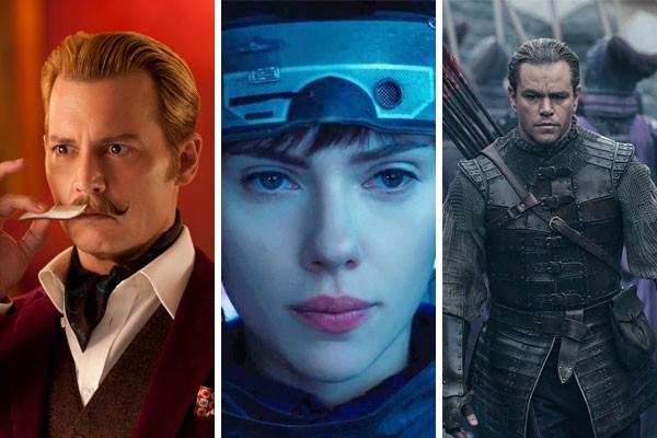 Johnny Depp, Scarlett Johansson e Matt Damon ganharam muito para protagonizar filmes que acabaram decepcionando em bilheteria  (Foto: Divulgação)