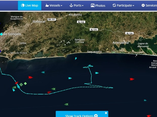 Imagem mostra Vital de Oliveira retornando a Saquarema (Foto: Reprodução MarineTraffic)
