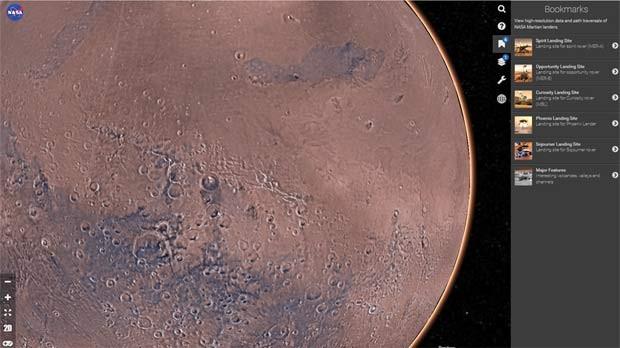 Mapa interativo Mars Trek mostra detalhes da superfície de Marte (Foto: Reprodução/ Mars Trek)