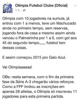 Palmeirinha x Olímpia, Olímpia, Porto Ferreira (Foto: Reprodução / Facebook)