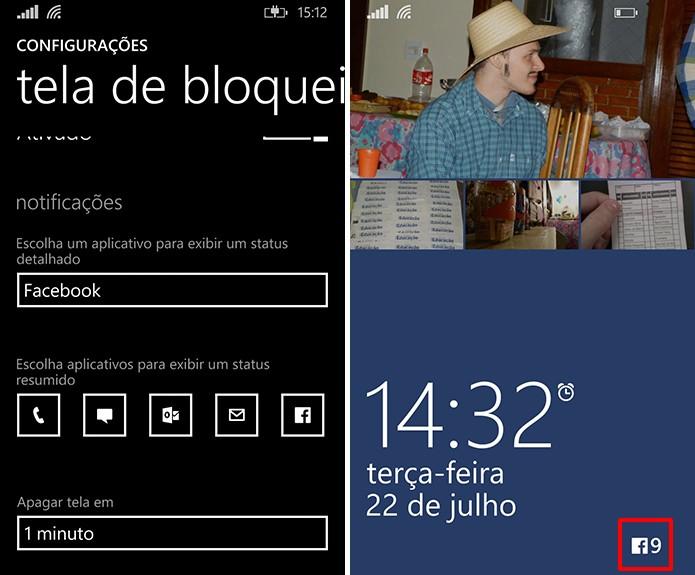 Windows Phone exibe número de notificações do Facebook na tela de bloqueio do telefone (Foto: Reprodução/Elson de Souza)