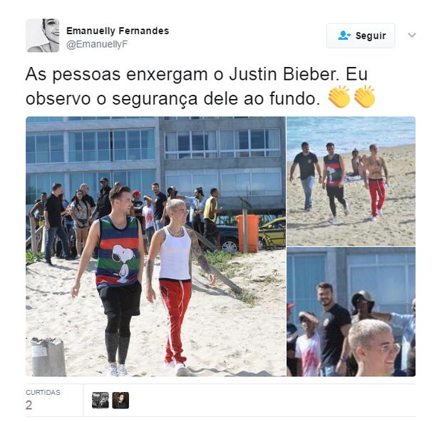 Comentários sobre o segurança de Justin Bieber (Foto: Reprodução)
