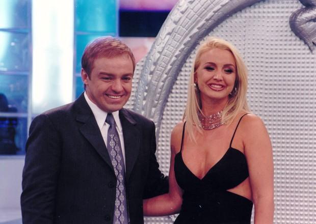 Alessandra Scatena quando era assistente de palco do Gugu, no início dos anos 1990 (Foto: Divulgação/SBT)