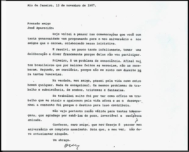 Carta escrita por Niemeyer ao amigo José Aparecido, ex-ministro da Cultura, em que diz que não participaria de festa de seus 80 anos de vida (Foto: TV Globo/Reprodução)