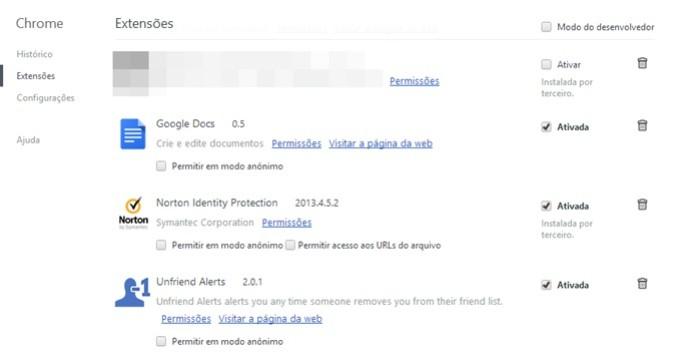 Lista com as extensões do Chrome (Foto: Reprodução/Carolina Ribeiro) (Foto: Lista com as extensões do Chrome (Foto: Reprodução/Carolina Ribeiro))