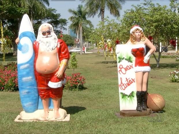 Decoração deste ano provocou polêmica na cidade (Foto: Reprodução/TV Anhanguera)