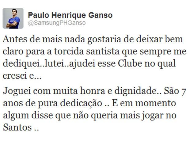 Ganso twitter Santos (Foto: Reprodução / Twitter)