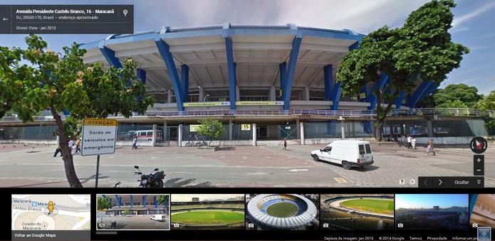 Google Maps não é rede social, mas permite que usuários tenham acesso a fotos e informações sobre estádios (Foto: Reprodução/Google)