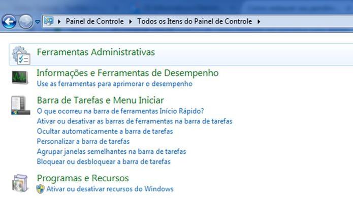 Ferramentas Administrativas é um recurso que pode ser encontrado no Painel de Controle do Windows (Foto: Reprodução/Dario Coutinho)