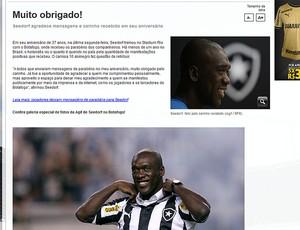 Agradecimento Seedorf Botafogo (Foto: Reprodução / Site Oficial do Botafogo)