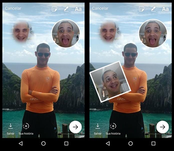 Adicionando mais uma selfie sticker ao Stories (Foto: Felipe Alencar/TechTudo)