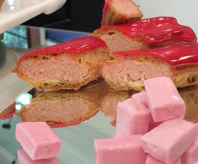Bomba com recheio de frutas vermelhas (Foto: Mais Você/Gshow)