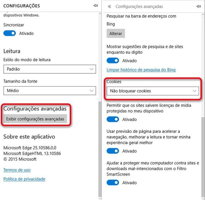 Ativando cookies no Microsoft Edge (Foto: Felipe Alencar/TechTudo)  (Foto: Ativando cookies no Microsoft Edge (Foto: Felipe Alencar/TechTudo) )