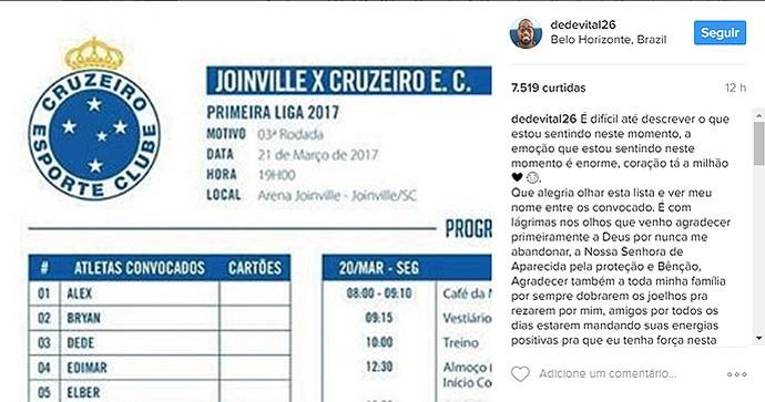 Dedé comemora volta aos jogos do Cruzeiro (Foto: Reprodução/Instagram)
