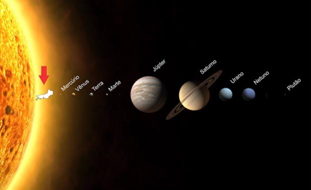"""Centro de Operações da Prefeitura do Rio fez post brincando sobre o calor recorde: """"Recebemos essa foto do telescópio espacial Hubble e parece que finalmente descobriram a posição do Rio de Janeiro no Sistema Solar (alguns dirão que é montagem).  Hoje foi (Foto: Reprodução / Facebook)"""