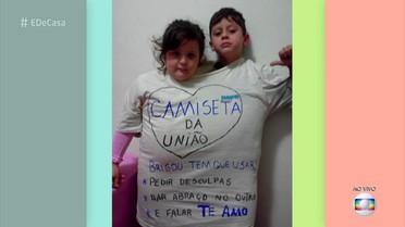 """Pais fazem a """"camiseta da união"""" que obriga irmãos a fazerem as pazes"""