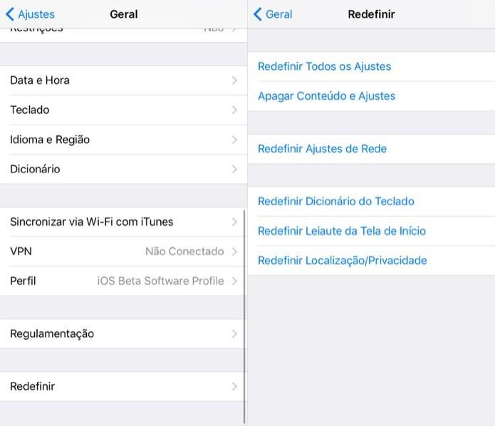 Redefina as configurações do iPhone (Foto: Reprodução/Helito Bijora)