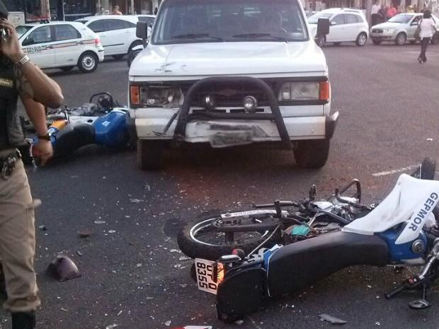 Acidente ocorreu na tarde desta terça-feira em Uberlândia (Foto: Polícia Militar/Divulgação)