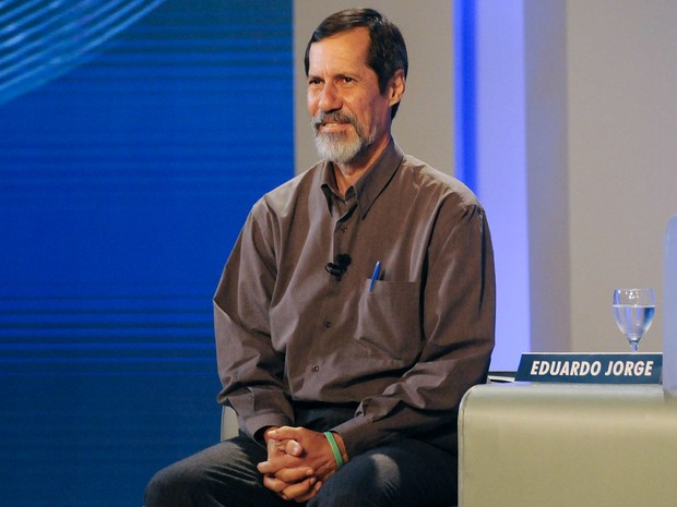 Os candidatos Eduardo Jorge (PV) durante o debate (Foto: Alexandre Durão/G1)