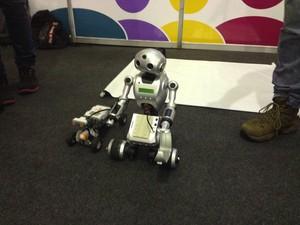 Outro robô, o NX3 usa de ondas sonoras para evitar impactos (Foto: John Pacheco/G1)
