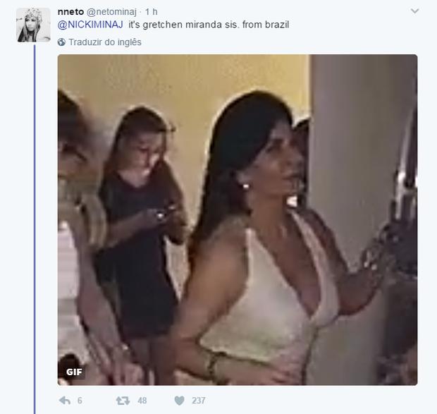 Nicki Minaj pergunta sobre Gretchen (Foto: Reprodução/Twitter)