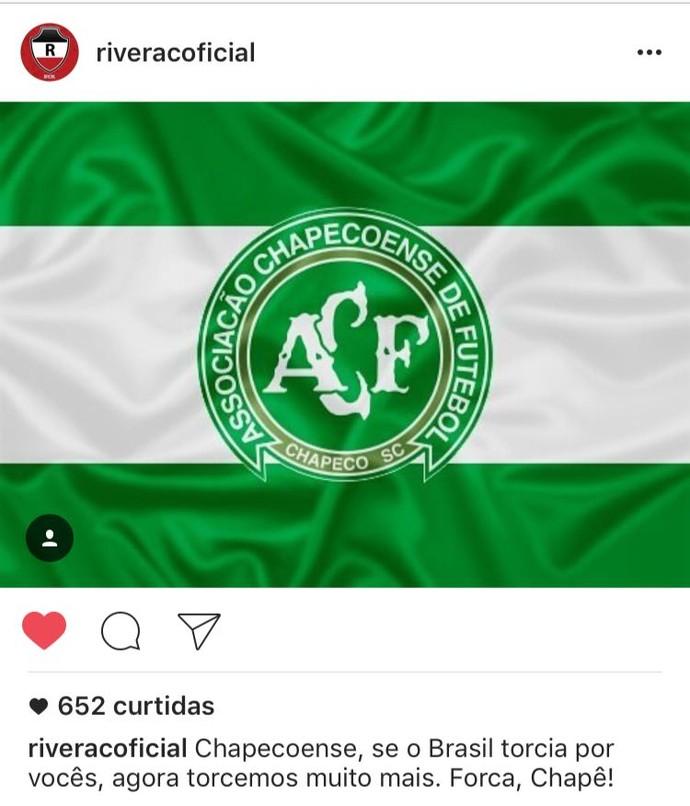 River-PI lamenta acidente Chapecoense (Foto: Reprodução/Instagram)