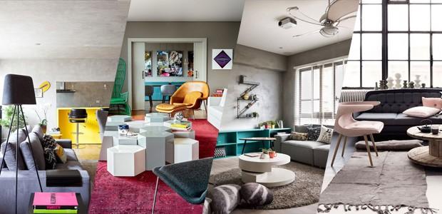Sala De Estar Cinza Com Verde ~ Sala cinza 18 ideias para a decoração  Casa Vogue  Ambientes