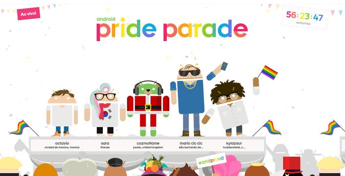A plataforma Androidify criou a Android Pride Parade (Foto: Reprodução/Isabela Giantomaso)