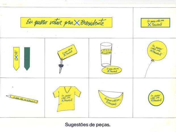 Campanha previa a criação de vários artigos 'usáveis' para divulgar a Emenda Dante de Oliveira (Foto: Reprodução)