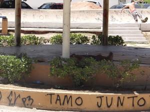 Coreto na Praça do Skate é tomado por moradores de rua. (Foto: Henrique Pereira/G1)