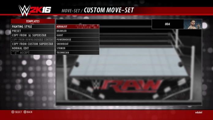 Os diferentes estilos de luta de WWE 2K16 (Foto: Reprodução/André Mello)