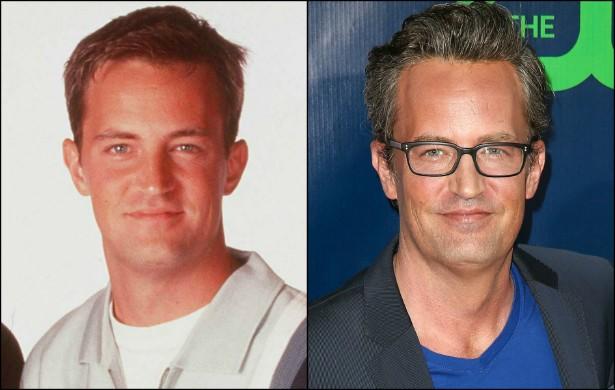 Para completar o núcleo principal de 'Friends', eis Matthew Perry, o Chandler, em outubro de 1997, quando tinha 28 aninhos, e agora, com 45. (Foto: Getty Images)