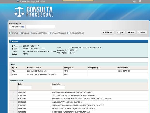 Luiz Paes de Araújo Neto será levado à júri popular pelo assassinato de Aryane Thaís (Foto: Reprodução/siteTJPB)