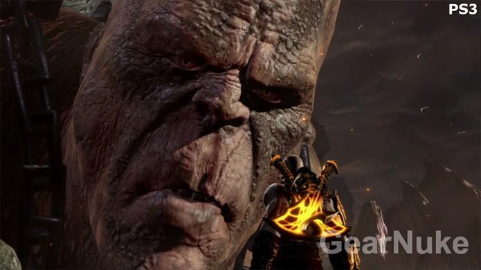 Cronos no God of War 3 de PlayStation 3 já era bastante detalhado (Foto:Reprodução/GearNuke)