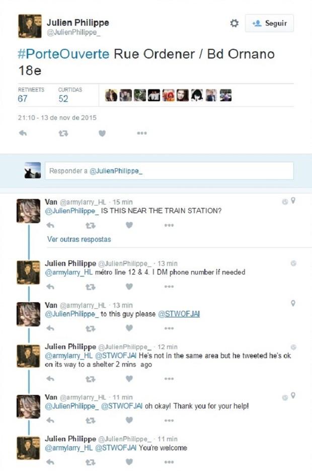 Usuária tenta comunicar alguém que ofereceu abrigo com outro internauta, que postou mensagens dizendo que não tinha para onde ir e estava perto de uma estação de trem. (Foto: Reprodução/Twitter)