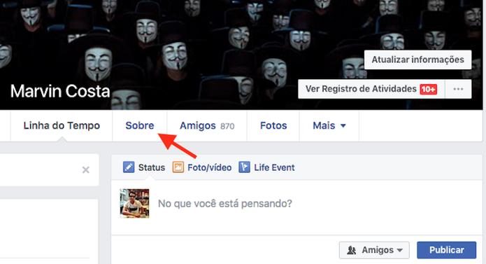 Acessando as informações de perfil de uma conta do Facebook (Foto: Reprodução/Marvin Costa) (Foto: Acessando as informações de perfil de uma conta do Facebook (Foto: Reprodução/Marvin Costa))